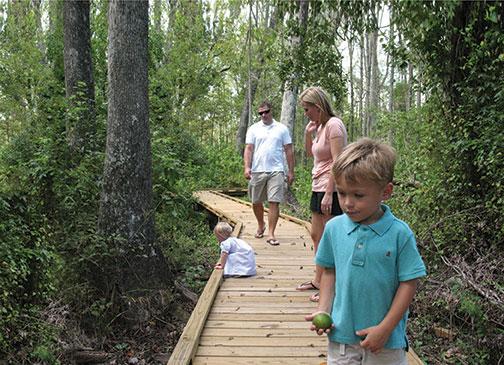 A family explores Black Swamp, a popular site in the Trees & Trails program.  Photo: Elma Sue McCallum