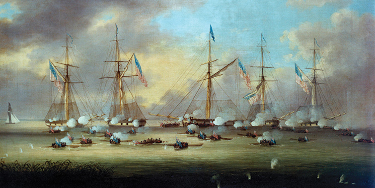 This painting of a War of 1812 battles graces the cover of Ronald Drez's novel.